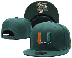 Miami Hurricanes Snapbacks NCAA College Futebol Chapéus Homens Ajustável Chapéu Mulheres Cap Futebol Americano Vermelho A03