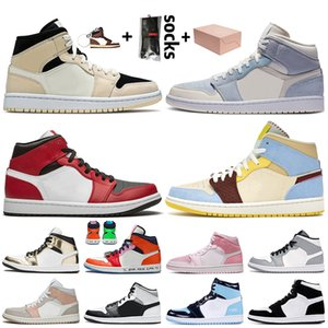 Nike Air Jordan 1 1s Jordan Retro 1 Off White 2020 Top Art und Weise mit Box Mid JUMPMNA Frauen-Männer-Basketball-Schuhe Chicago Chateau Rouge Turnschuhe