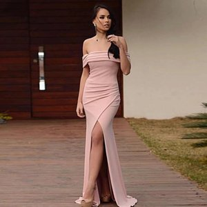 2021 Bateau Neck Prom Dresses Long Side Split Ruched Mermaid Evening Party Gowns Zipper Back Summer Formal Women Special Occasion Wear