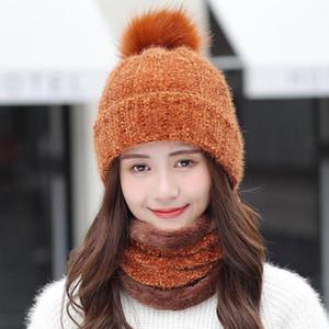 New Ladies Woolen Hat +Scarf Set 2Pcs Winter Plus Velvet Thick Warm Skullies Hats Knitted Bib Female Outdoor Beanie Cap