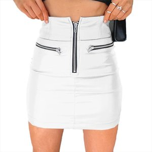 Women Fashion High Waist Skirt Sexy Zip Faux Leather Short Pencil Bodycon Mini Skirt Solid White PU Leather Short Skirts