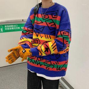 2020 Winter Herren Neue Freizeit Persönlichkeit Geometrische Jacquard Rundhalsausschnitt Sweater Mode Lose und dicke Pullover Mantel Größe M-2XL1
