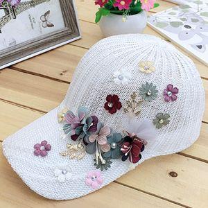 Elegant Women's Baseball Cap Hot Diamond Flower Girls Snapback Hats Woman Female Cap Mesh Summer Sun Hat Y1130