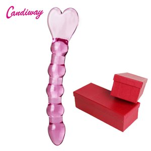 CandiWay Glass Anal plug Heart heads butt plugs Penis Nightlife Anus Dildo adult masturbation Adult Gay Sex Toys for Women Box Y201118