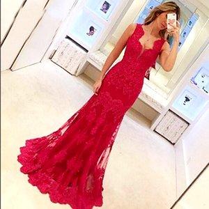 Élégant sirène rouge sirène dentelle robe de bal longue 2021 appliquée sans manches plus sans manches trompette de la trompette officielle robe de soirée robes de soirée femmes femmes usure