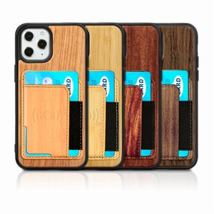 For Iphone 11 Pro Max X XS XR 6 7 8 Max Wood Case Real Bamboo Wooden Phone Case With Magnetic Card Holder