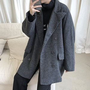 2020 Nuovo Giacca a vento Coreano Medium Length Ruffian Fashion Brand Handsome Coat da uomo in lana