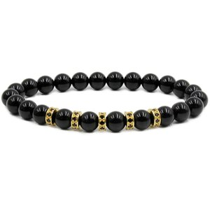 2018 Charm Bracelet 8mm Natural Black Stone Zircon Stoppers Bangle Men and Women Bracelets Beads Valentine's Gift