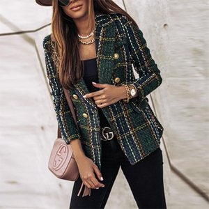 autumn winter plaid jacket women office ladies blazer tweed coat chaqueta cuadros mujer 2020 fashion ladies tops vetement