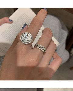 Angel wings retro simple ring female hip hop male trend personality chain small design open style