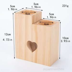 Wooden Tea Light Candle Holder Creative Heart Hollowed-out Candlestick Romantic Table For Home Birthday Party Wedding Decoration OWF2570