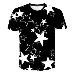 Men's Short Sleeve 3D Digital Print Penta Star Design Sport Breathable Men's T-shirt
