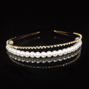 Carddoor Cute Princess Pearl Tiaras and Crowns For Women Layered design Rhinestone Bridal Headband Fashion Wedding Hair Jewelry