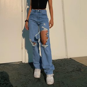 Streetwear Ripped Hole High Waist Jeans Women Pants Casual Straight Denim Vintage Y2K Jeans Capris Bottom Skinny