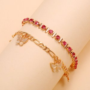 2020 Fashion Jewelry Gold Link Sweet Butterfly Anklets Crystal Claw Chain Rhinestone Butterfly Ankle Bracelet