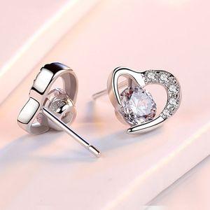 Korea Simple S925 Pure Silver Damen Mode Temperament Zirkon Herz Süße Liebe Ohrringe