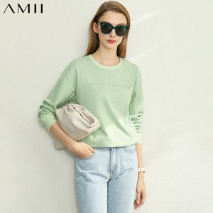 Amii Minimalist Spring Cotton Letter Print Sweatshirt Women Casual Round Neck Solid Loose Female Pullover Tops 12020067 LJ201120