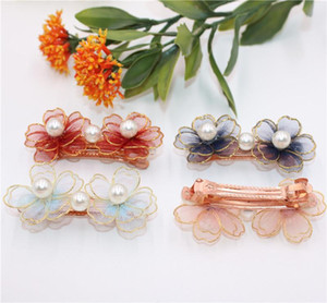 2Pes lot Beautiful Blooming Chiffon Flower Barrettes Kids Big Pearl Hairpin Ornaments Hairclip Hair Accessories For Girls