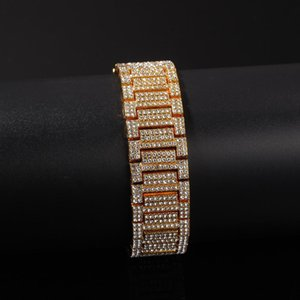 Hip Hop Bling Bling Iced Out Tennis Chains bracelet Width 21mm Rhinestone Gold Silver Men Women Bracelet Bangle Fashion Gift