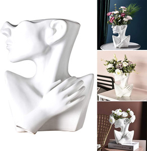 Nordic Creative Human Head Abstract Ceramics Vase,Modern European Half Body Succulents Flower Plant Flower Pot for Home Living Room Decor