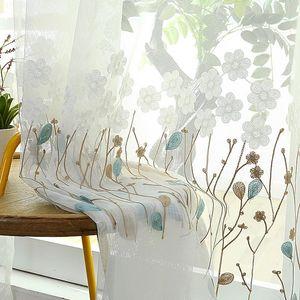 Корейский вышитый цветок тюль для тюлевых шторы для спальни окна белые чистые шторы для жизни кухонная вуаль из ткани занавес