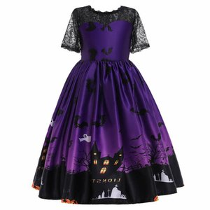 2020 new Halloween cosplay girls dresses lace girl dress long kids dresses Pettiskirt princess dress big girls clothes B2694