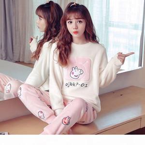2020 Womens Pajamas Set Winter Thick Warm Flannel Pajama Sets Cartoon Pyjamas Women Homewear Animal Sleepwear Female Pajama 01