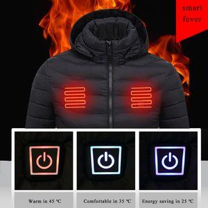 Laamei Mens Women Heated Outdoor Parka Coat USB Electric Battery Heating Hooded Jackets Warm Winter Thermal Jacket 201118
