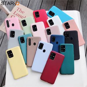 Capa de telefone de silicone cor de doces para Samsung Galaxy A51 A71 5G A21 A31 A11 A41 M51 M31 A21S A91 A81 A01 Matte Soft Tpu Capa