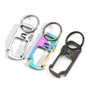 3 colors Stainless steel key chain multi-function opener ruler keychain Hang buckle Key ring beer bottle opener CYZ2952