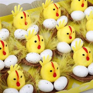 Simulación Pascua Polluelo Amarillo Mini Encantador Artificial Decoración de Hogar Juguetes Pollo de felpa Regalo de Pascua para niños 12pcs / Set DDA3515