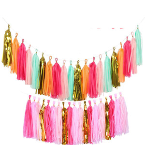 The New Paper Tassel Garland Fringe Matrimonio Compleanno Fashion Fashion Party Decor Backdrop Banner Balloons Tails Genere Rivelare Gifts LLS752