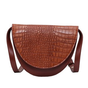 2020 New Saddle High Quality Crocodile Pattern PU Leather Flip Shoulder Bag Girl Handbag Ladie Fashion Messenger