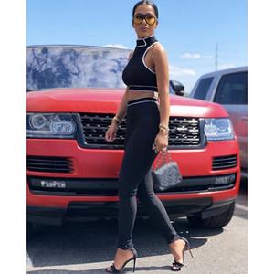 Designer Frauen Fitness Zwei Teile Set Skinny Leggings Sportswear Slim Outfit Weiß Schwarz Trainingsanzug Hoodies Sweatshirt Crop Tops + Hosen Büro