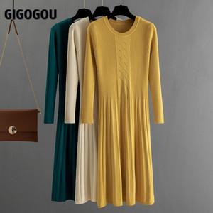Gigogou sonbahar kış kadın kazak elbise orta buzağı uzun şık kadın elbiseler a-line yumuşak kaburga örme elbiseler J1215