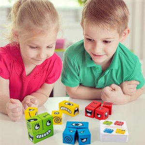 Cartoon Cube Face Changing Building Blocks Party Game Wooden Puzzle Montessori Toy Anxiety Stress Relief Toys For Children Kids 201226
