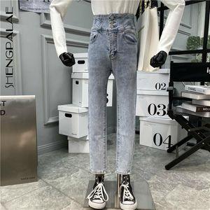 SHENGPALAE Womn's Single Row Three Button Chic Trendy Super High Waist Skinny Stretch Jeans Fleece Tight Pencil Pants 2020 5A609