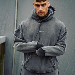 2020 Men Pullover Sweatshirt O-Neck Letter Running Hoodies Gym Fitness Bodybuilding Sports Male Sportswear Workout Mens Clothing