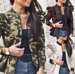 Women Outerwear Zipper Small Coats Camo Check Wave Dot Printed Overcoat Autumn Winter Coat Long Sleeve Flounces Mosaic Apparel YL405