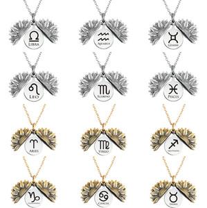 2021 Collana di girasole 12 Zodiac Collana Lega Unica Open Medaglione Pendente Donne Party Love Jewelry Regalo 12 Constellations Gioielli