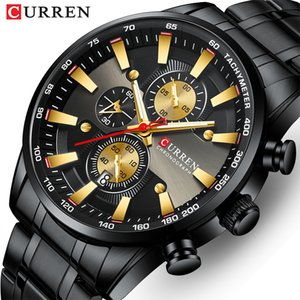 New CURREN Watch for Men Top Brand Black Gold Quartz Sports Wristwatch Mens Chronograph Clock Date Stainless Steel Male Watches 201120