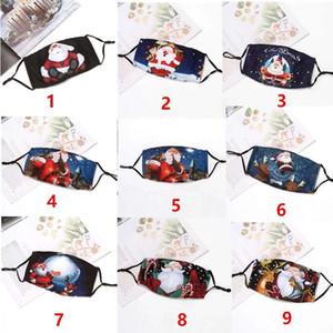 EUA Stock Hristmas Face Mask Reusável Algodão Designer Máscara Ajustável Earloop Lavável Moda Boca Máscaras 3 Camadas Dos Desenhos Animados Crianças Adulto