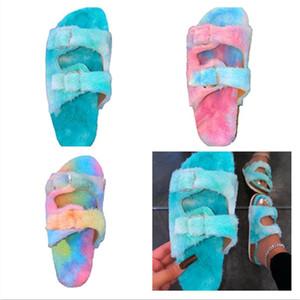 2021 Deisptrers Zapatillas coloridas para mujer Invierno Color cálido Color Color Bajo tacón de tacón Casual Deportes Playa Flip-flops Inicio Ropa F112101