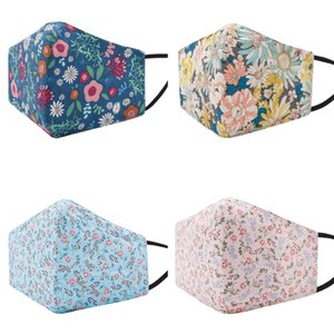 Reusable Floral Three-Dimensional Printed Face Mask Women Adult's Washable Cotton Fabric Cloth Masks for Dust Air Pollution