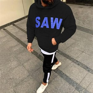 Clothing SAW Printed Mens Fleece Jacket Autumn Winter Designer Letter Fashion Pullover Hoodies Long Sleeve Casual