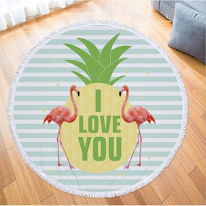 Printed Tropical Leaves Flower Beach Towel Round Flamingo Microfiber Beach Towel Large Blanket Picnic Yoga Mat Sunbath Bathtowel
