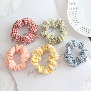 Lattice Hairs Scrunchies Fashion Elastic Large Accessories New Ponytail Polychromatic Headwear Children Coiling Girl Hair Band 1ys K2
