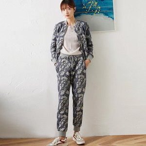 Suit Women Vintage Style Printed Pocket High Quality 98% Cotton Casual Design Two Pieces Set Women New Fashion