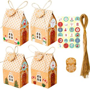 24 Sets Christmas House Gift Box Kraft Paper Cookies Candy Bag Snowflake Tags 1-24 Advent Calendar Stickers Hemp Rope Y1125