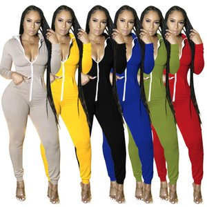 Women Onesies Designers Clothes Jumpsuits Sexy Slim Hooded V Neck Rompers Ladies Long Sleeve Playsuits Autumn Zipper Skinny Overalls C7AC